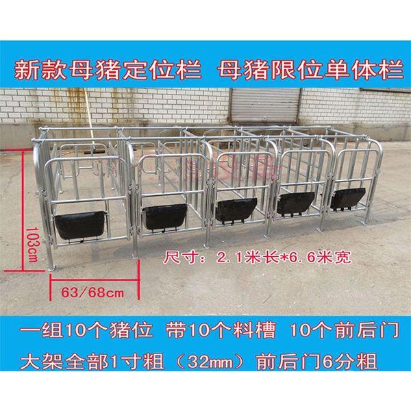 供应母猪定位栏 猪定位栏 母猪限位栏(一组十个带母猪食槽) 10个猪位,带10个母猪料槽